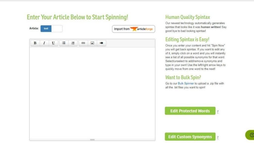 WordAi Enter Your Article