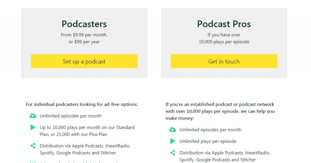 Audioboom Pricing Plan