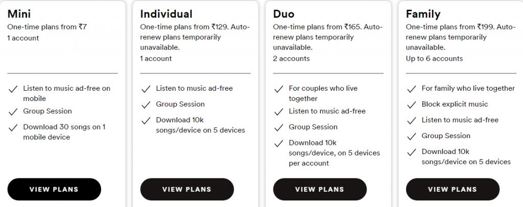 Spotify Premium Plans