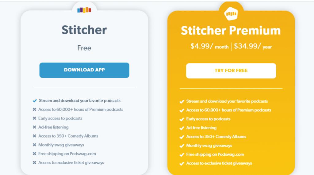 Stitcher pricing