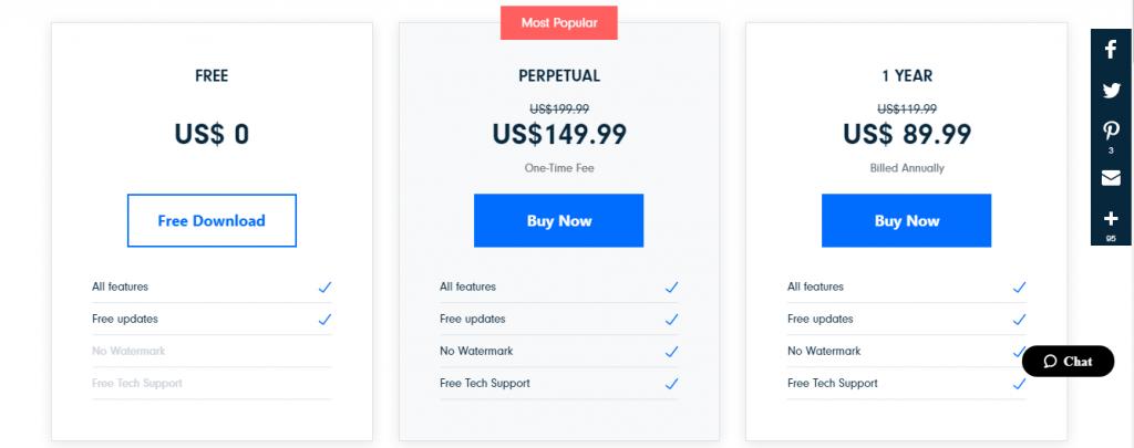 FilmoraPro Pricing
