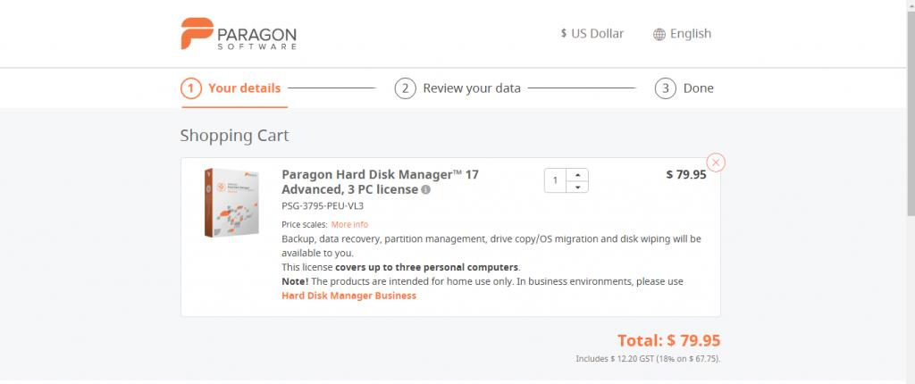 Paragon Drive Copy Professional pricing